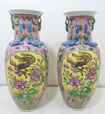 Beautiful Pair of Antique 19th Century Chinese Famille Rose Vases