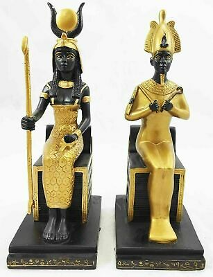 Ancient Egyptian Religion Goddess Isis and God Osiris Sitting on Throne Statue