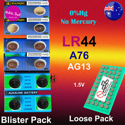 250~100~50~10 LR44 Blister/Loose  Battery AG13/A76 Button Cell 1.5V EXP 2022/21
