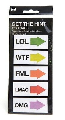 NEW GET THE HINT Text Tags Repositionable Adhesive Labels