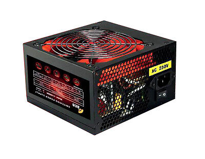 ACE 700W Black Gaming PC PSU Power Supply 6 Pin PCI-E 120mm Red Cooling Fan