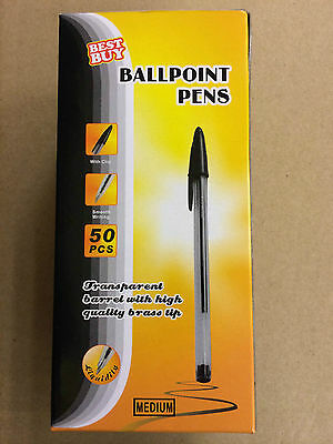 50Pcs Black Best Buy Smooth Pleasant Writing Ball Point Pens