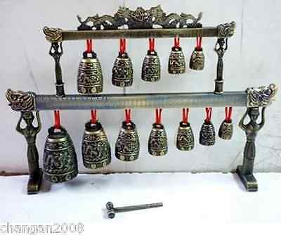 Chinese Dragon Chime Bells Decor Percussion Instrument Brass Alloy Vintage Style