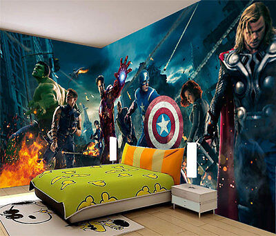 Avengers Marvel Super Heroes Full Wall Mural Photo Wallpaper Print Home Dec Kids