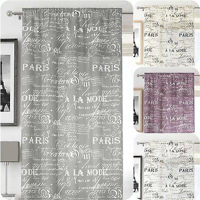 Latin Paris Script Vintage Voile Net Window Curtain Panel  Free Postage