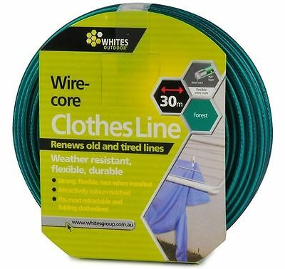Replacement Clothesline - Pvc With Wire Core Clothes Line  - Forest Green 30M