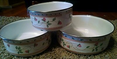 SET OF 3 PORCELAIN GIBSON PANS  STACKING CONTAINERS VINTAGE