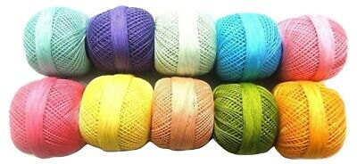 Size 20 - SET of Fluorescent Cotton Yarn Thread Crochet Lace Knitting Embroidery