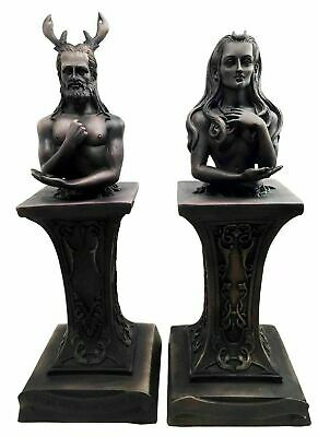 The Horned God and Moon Goddess Wicca Deity on Pedestal Set Figurine Collection