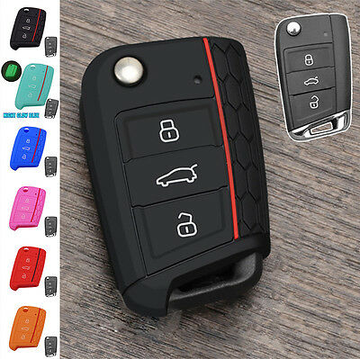 Fit For 2014- Vw Golf 7 Skoda Octavia Seat Silicone Flip Key Cover Hull Case