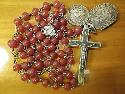 1800s Large Antique Silvered Brass Red Agate Glass Beads Rosary-Antique Medals