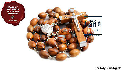 OLIVE WOOD ROSARY catholic prayer wooden CRUCIFIX HOLY LAND SOIL JERUSALEM