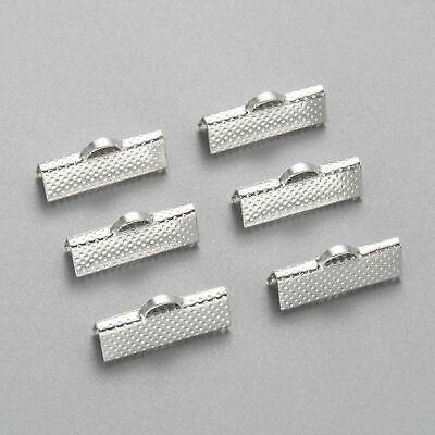 100pcs Iron Ribbon End Clamp Silver 20x8x5mm Cord Clip-clasp DIY Jewelry Finding