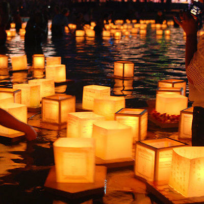 10x Chinese Square Paper Floating Water River Wishing Lantern Candle Light Lamp