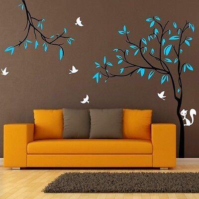 Giant Tree Birds Squirrel Nursery Wall Stickers Removable Decal Kids Baby Decor