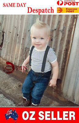 Kids Boys Girl GRAY Grey Solid COLOR Elastic Suspenders Braces 1 to 8 years old