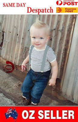 Kids Boys Girl Light Grey Solid COLOR Elastic Suspenders Braces 1 to 8 years old