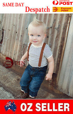 Kids Boys Girl Brown Solid COLOR Elastic Suspenders Braces 1 to 8 years old