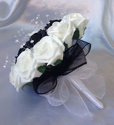 Wedding Black White Foam Rose Flowers Bouquet Bridesmaid Artificial Crystal
