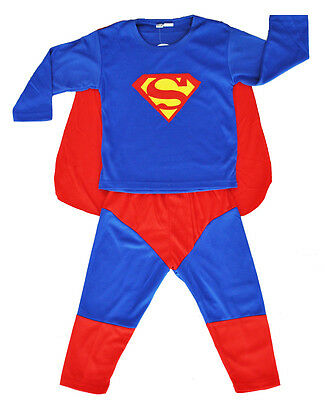New Size 2~10 Kids Costume Superman Toddler Boy Dress Up Party Outfit Superhero