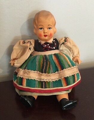 "Vintage Celluloid German Baby Doll 7.5"" Hand Painted Face"