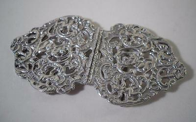 An Ornate Antique Solid Silver Belt Buckle : c1890