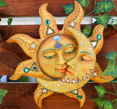 Beautiful Mosaic Celestial Sun and Moon Wall Sculpture Plaque Resin Statue