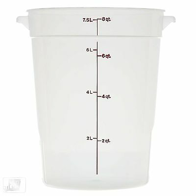 Cambro (Rfs8Pp-190) 8 Qt  Round Food Storage Container, White, W/cover
