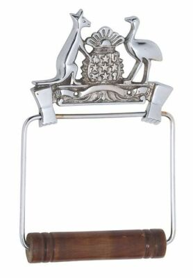 Coat of Arms Toilet Roll Holder Brass Chrome Plated