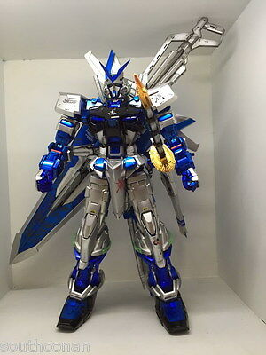 Painted silver & blue PG 1/60 Seed astray Gundam with big sword bakpack model