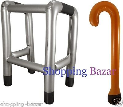 Inflatable Walking Stick Or Zimmer Frame Blow Up Toy Party Joke Novelty Dress Up