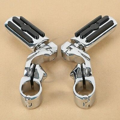 "Chrome 1.25"" Highway Foot Pegs Pedals For Harley Touring Road King Street Glide"