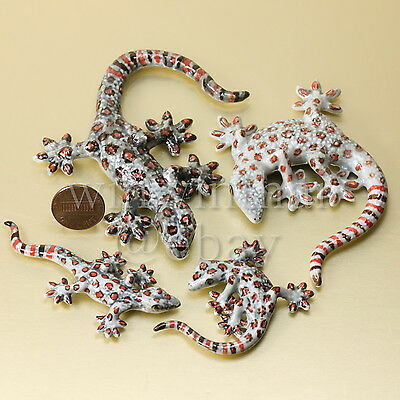 4 Geckos / Lizards Family Set  Ceramic Pottery Statue Animal Miniature Figurine