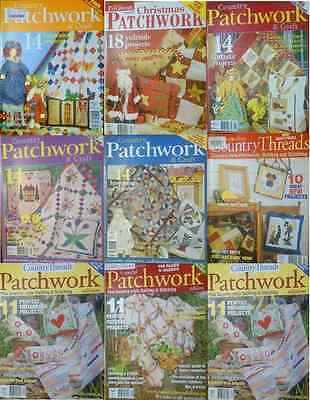 9 Australian Country Patchwork Threads Magazine Paper Pattern Good Condition
