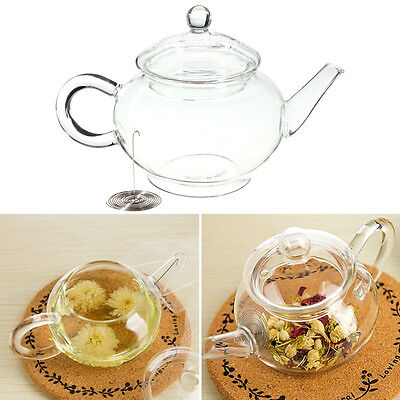 250ml/8.5oz Borosilicate Clear Glass Teapot Heat Resistant For Blooming Tea NEW