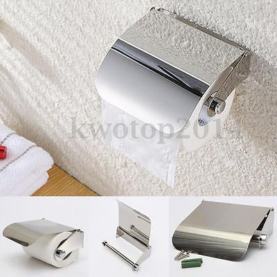 Stainless Roll Paper Holder Barthroom Toilet Tissue Towel Box Case Cover Lid