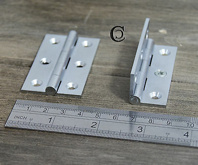 "50 x Strong Furniture Butt Hinge Brushed Nickel 2.5"" / 63mm Milled 6G screws"