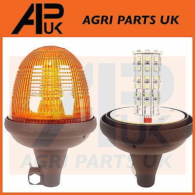 LED Rotating Flashing Amber Beacon Flexible DIN Pole Mount Tractor Warning Light