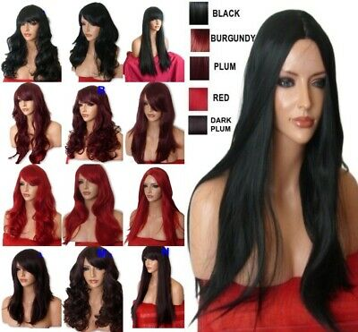 Halloween Wig Long Curly Straight Wavy Women Fashion Black Ladies Full Hair WIG