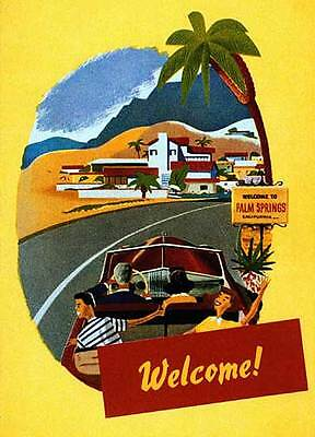 Welcome to Palm Springs 22x30 Mid-century modern California Art Deco Print