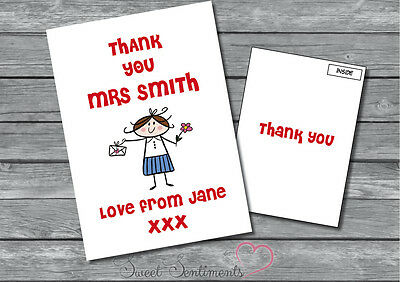 Personalised Teacher Card / School / Nursery Leaving Thank You  A5  Style 1
