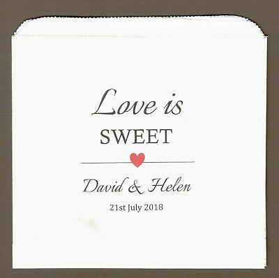 Personalised wedding sweet  candy cart favour bags brown or white