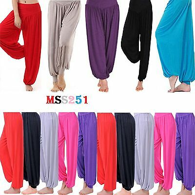 Womens Plain Harem Trousers Pants Ali Baba Leggings Baggy Aladin Boho Hippy 8-26