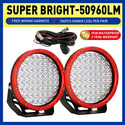 9inch 10360W LED Driving cree Light SPOT Offroad Red work lamp Round Super ATV