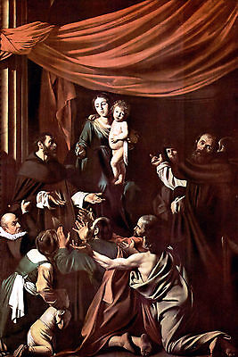 Madonna of the Rosary by Caravaggio Giclee Fine Art Print Repro on Canvas