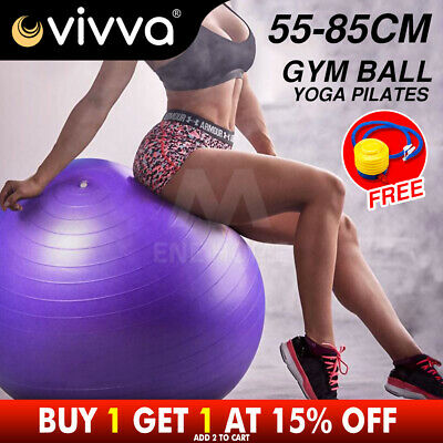 YOGA HOME GYM EXERCISE PILATES FITNESS BALL 55 65 75 85cm