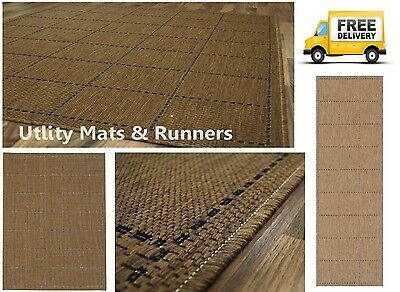 Checked Flatweave Utility Mats Kitchen Rugs Hall Runners Natural Anti Slip Gel