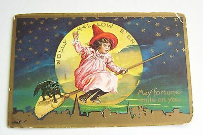 Vintage Halloween Little Girls As Witch With Black Cat Postcard Unused