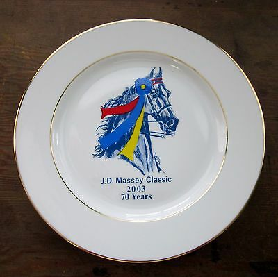 J.D. Massey Classic 2003 70 Years One Dinner Plate DeLott Horse Show Blue Red
