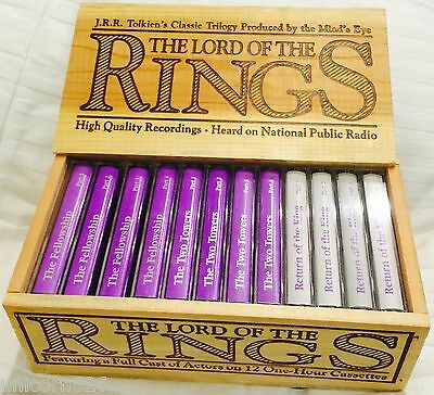VINTAGE 1979 Lord of The Rings 12 Cassettes Wood Box Collector's Set